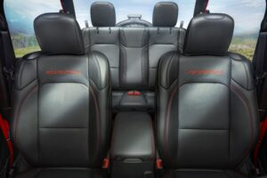 An over-shoulder view of the back seats.