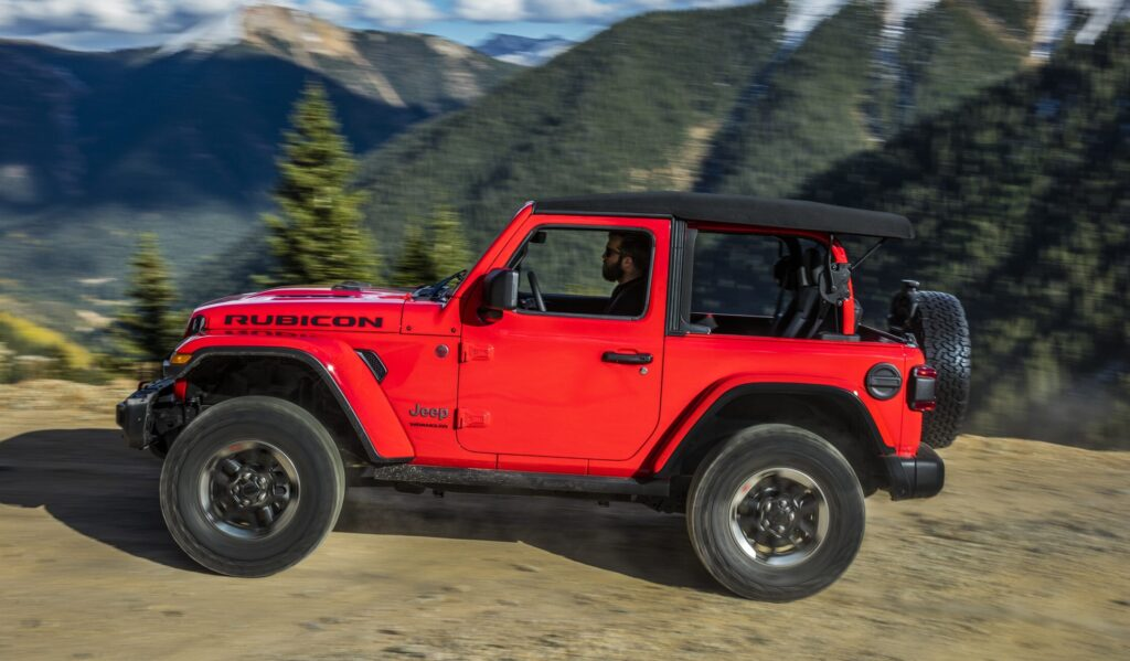 A side view of the Wrangler on a trail ride.