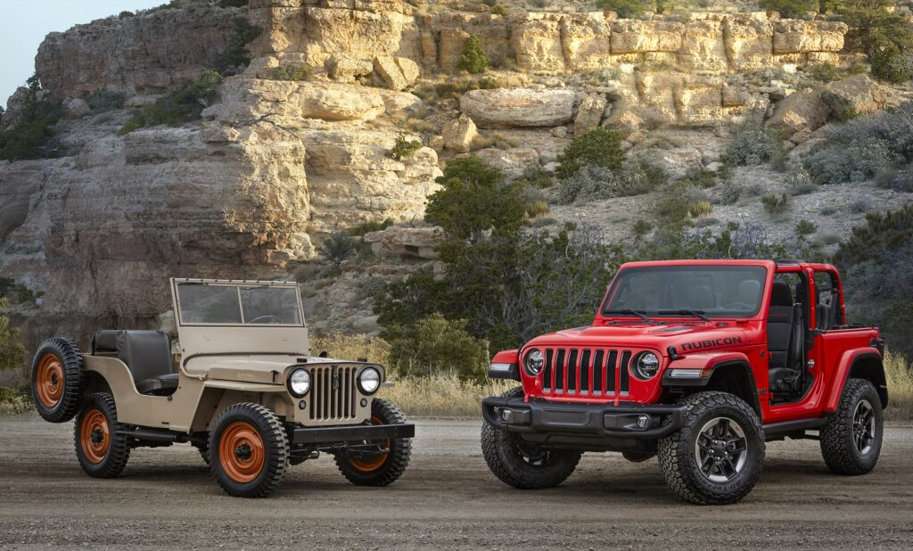 a 1945 CJ-2A and the new 2018 Wrangler