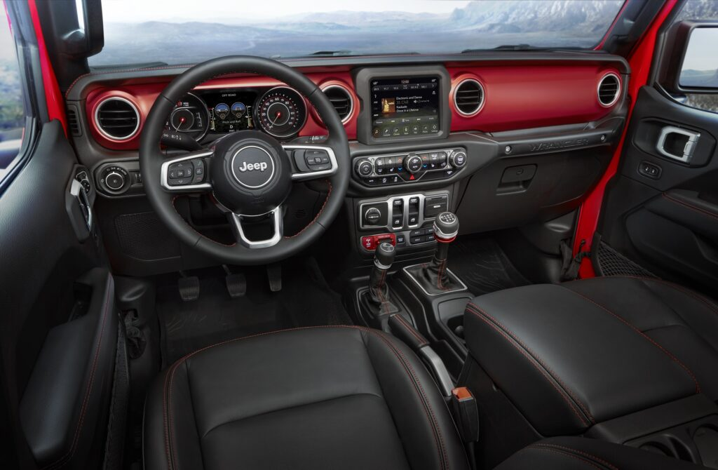 The driver area of the new Wrangler