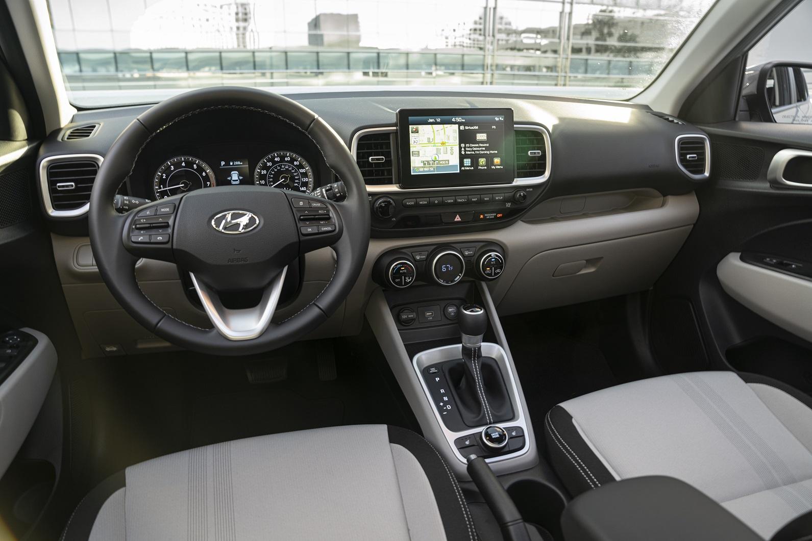 Hyundai Venue front seats and driver area