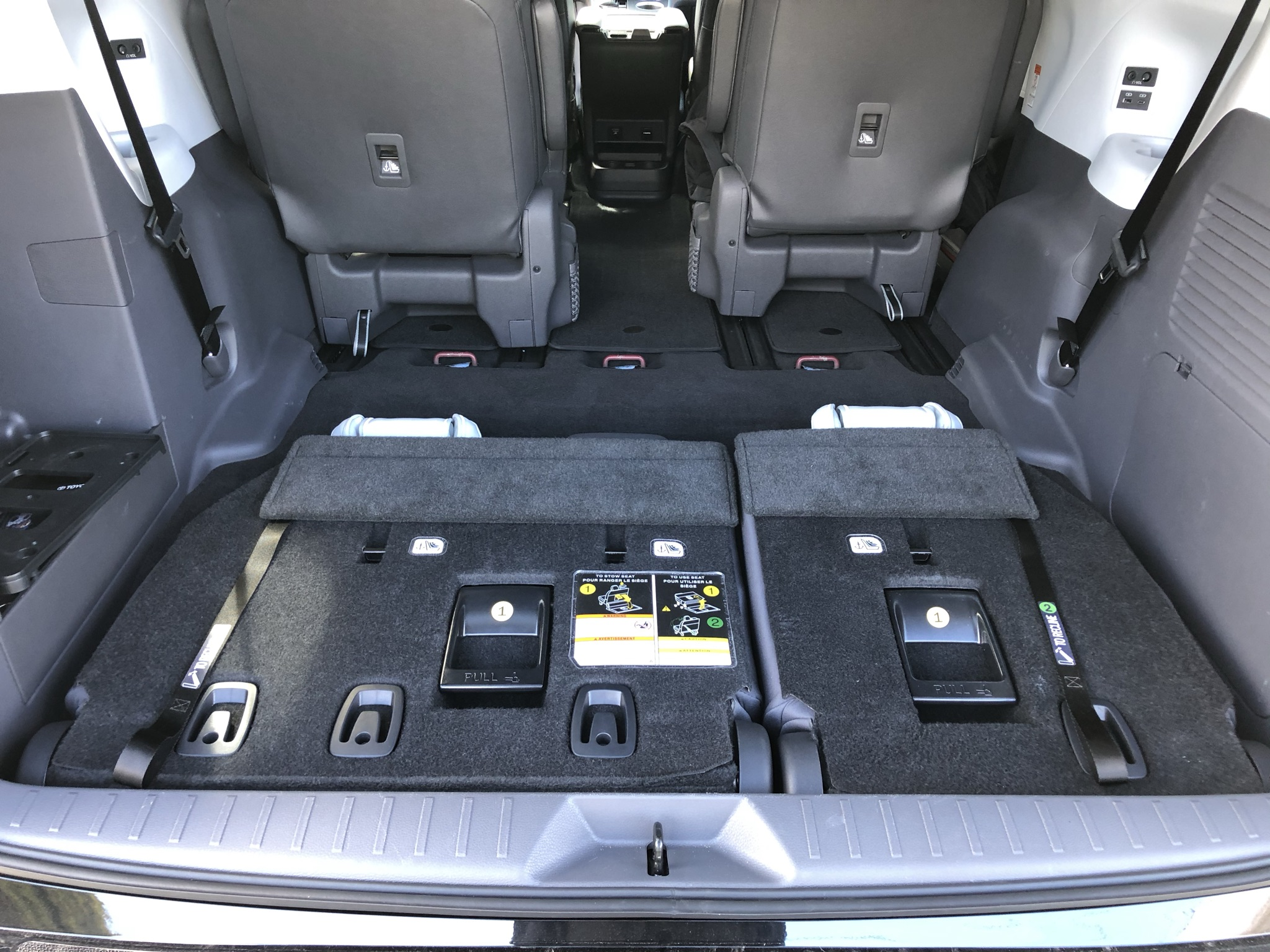 The Toyota Sienna's cargo area with folded third-row seats