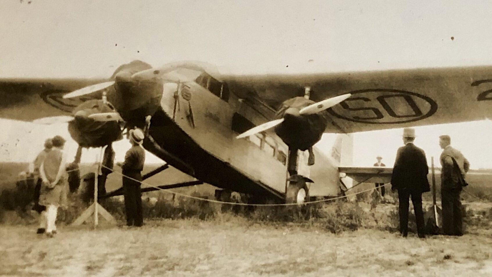 """An photograph of a Ford Trimotor """"Tin Goose"""""""