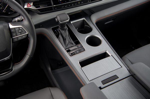 The minivan's gearshift console.
