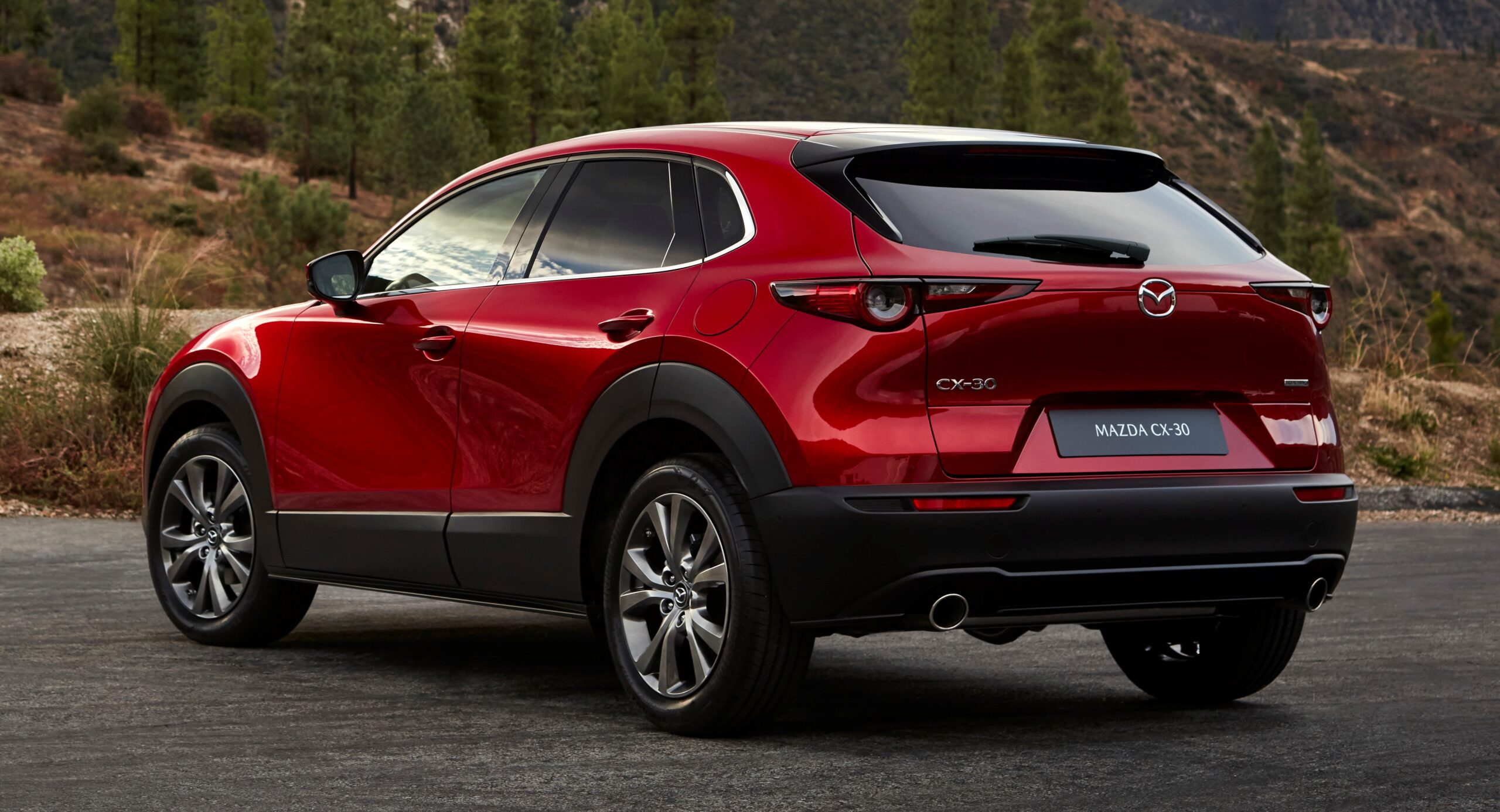 A rear view of the Mazda CX-30