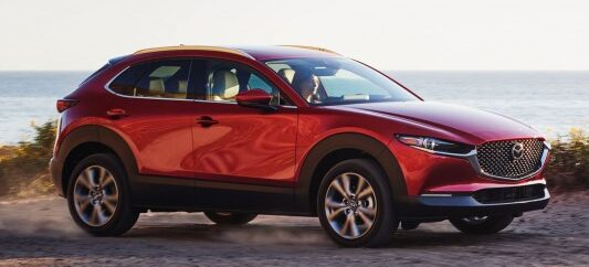 The front side view of the CX-30 Turbo