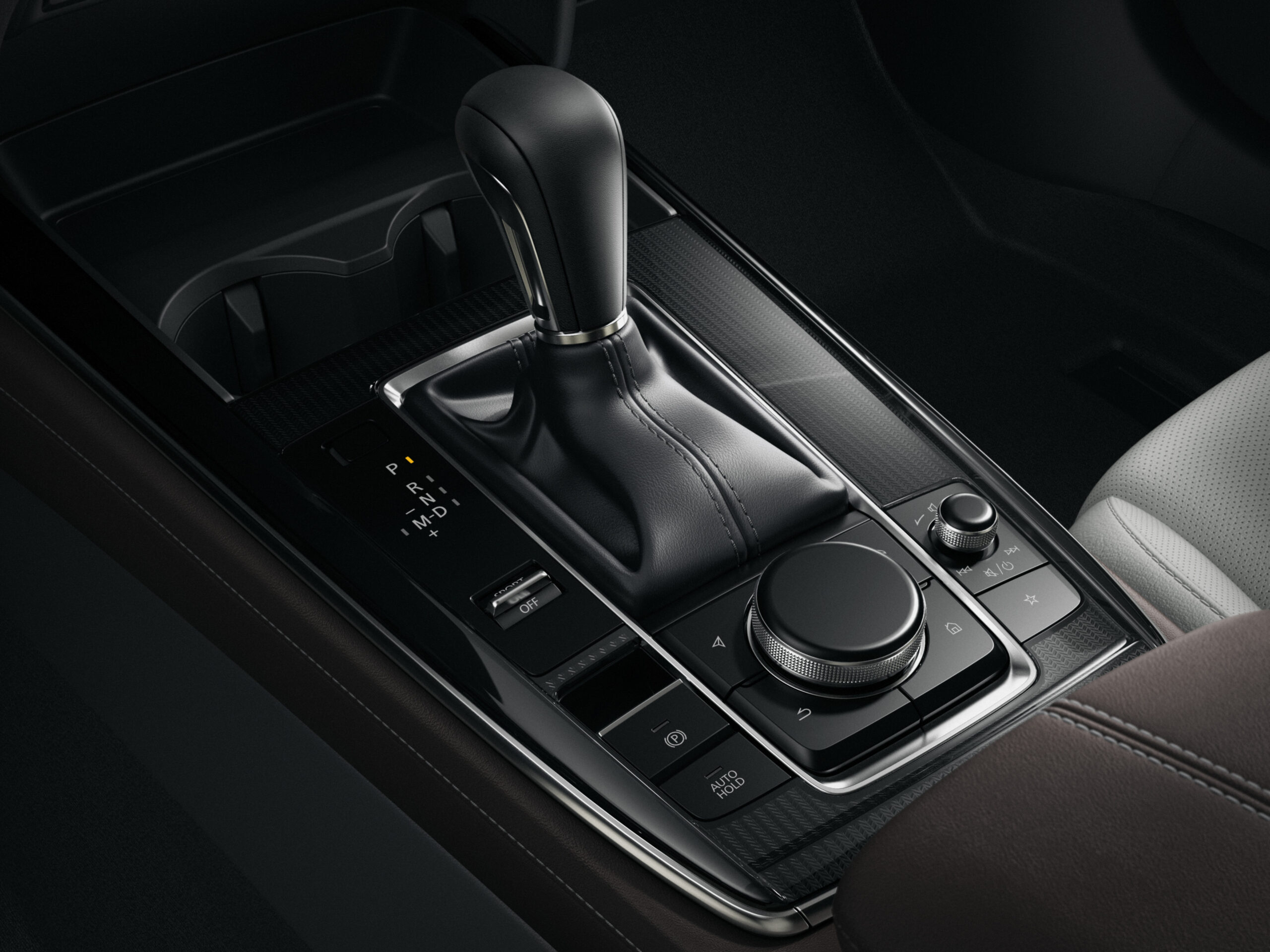 Gearshift console in the CX-30