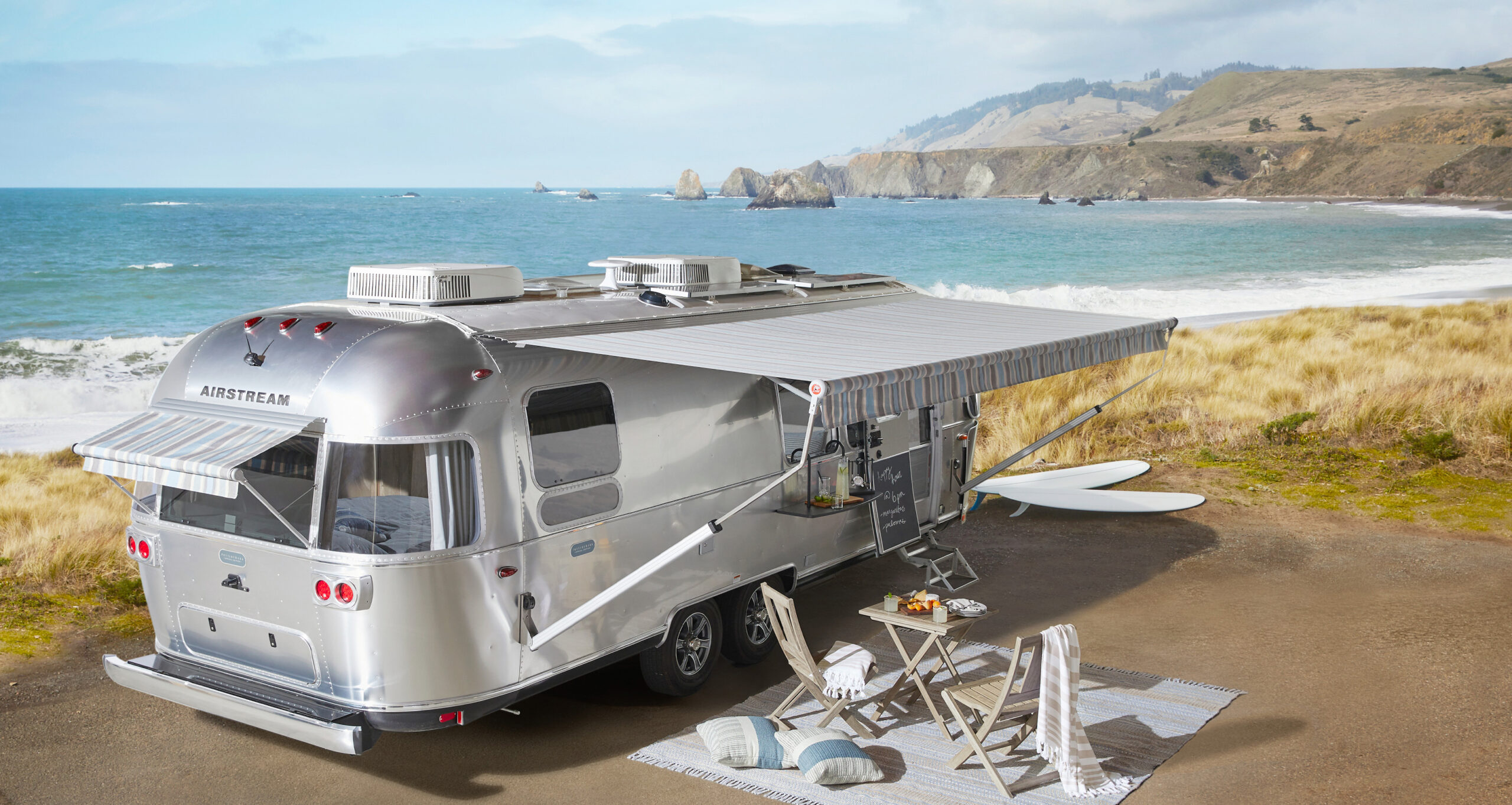 Exterior view of the Airstream x Pottery Barn Travel Trailer