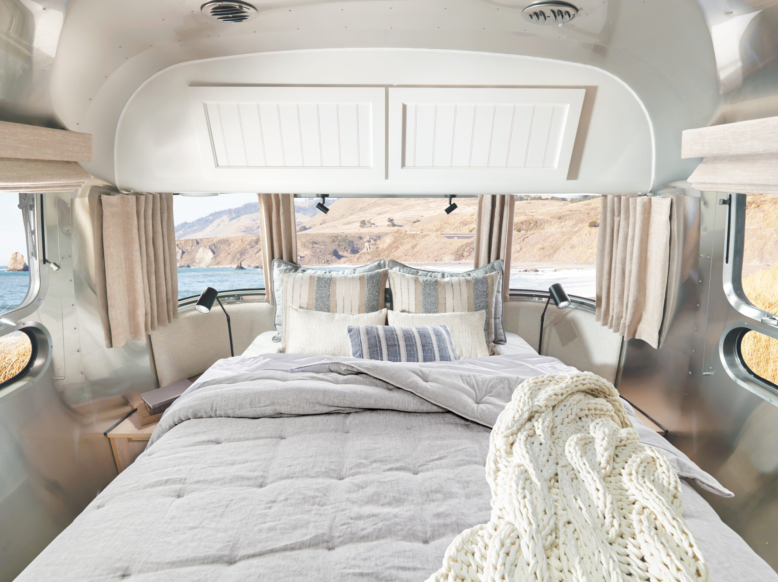 The Airstream bedroom with Pottery Barn linens