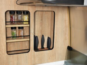 Pottery Barn knives and spices in the Airstream trailer