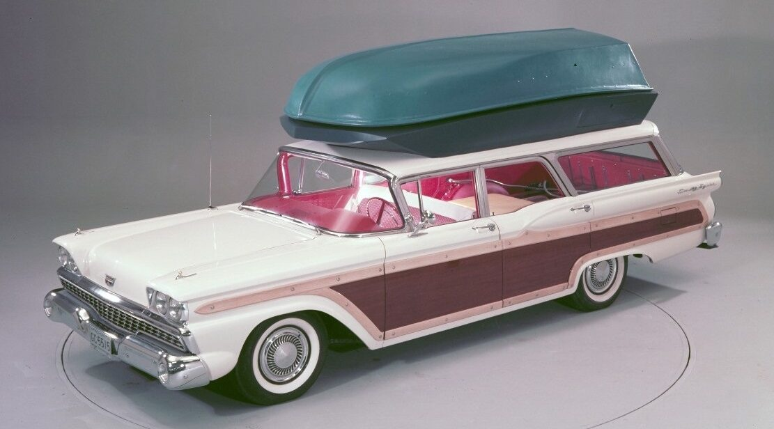 The 1959 Ford Country Squire wagon concept with Push Button 'Station Wagon Living' equipment and rooftop boat