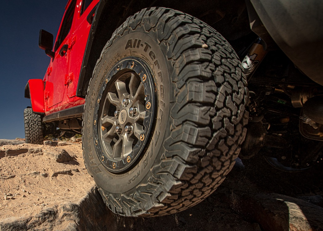 The off-road tires on the Jeep Rubicon 392