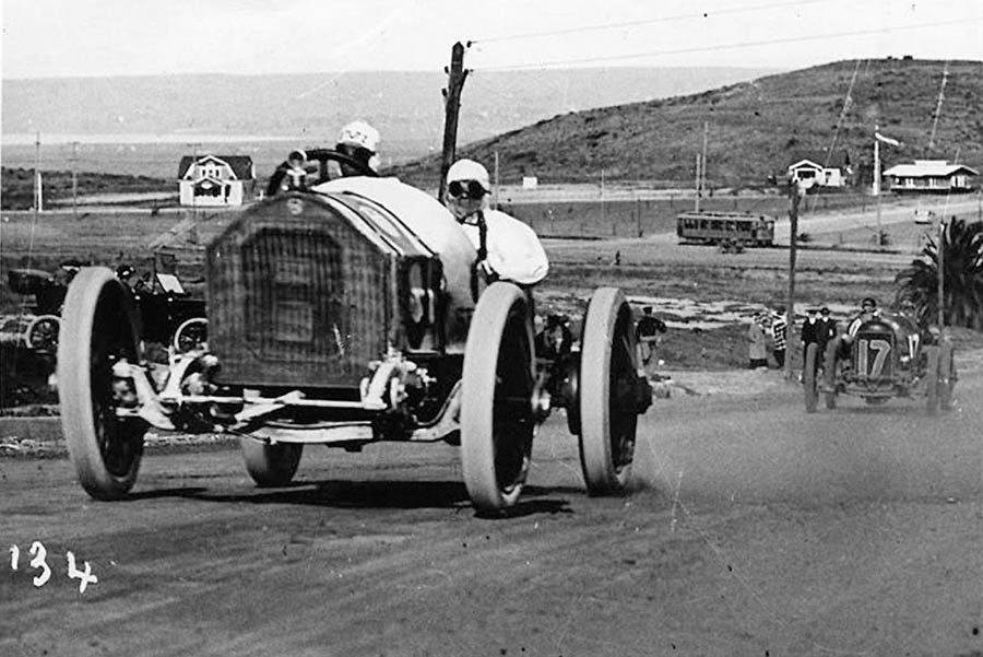 An old race car on the Point Loma Road Race of 1915