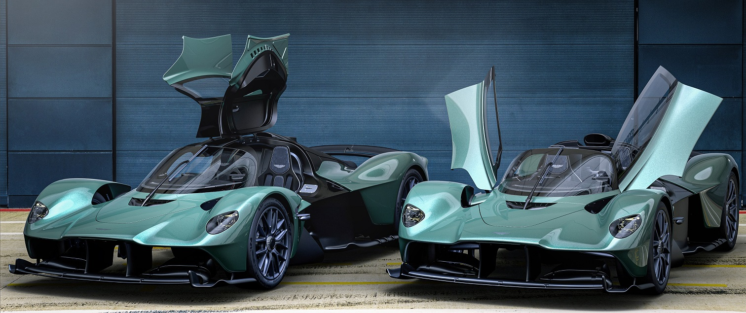 Side by side view of the Spider with the dihedral doors raised.