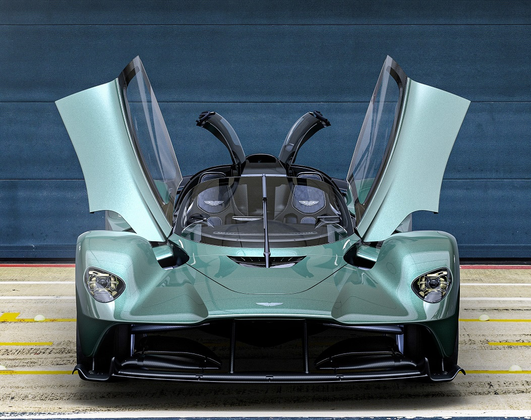 A front view of the Aston Martin Valkyrie Spider with the doors up