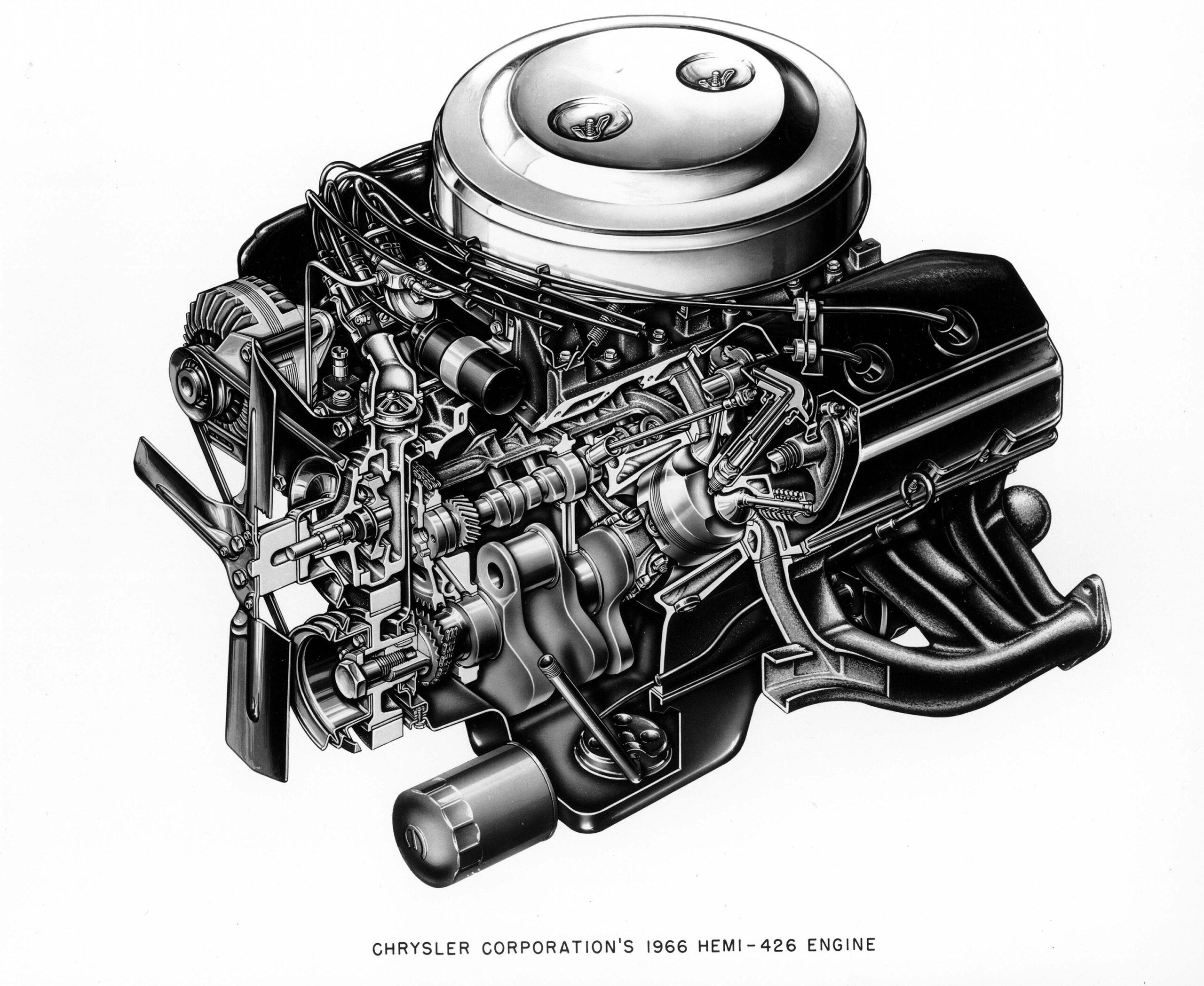 A cutaway illustration of the Hemi V8