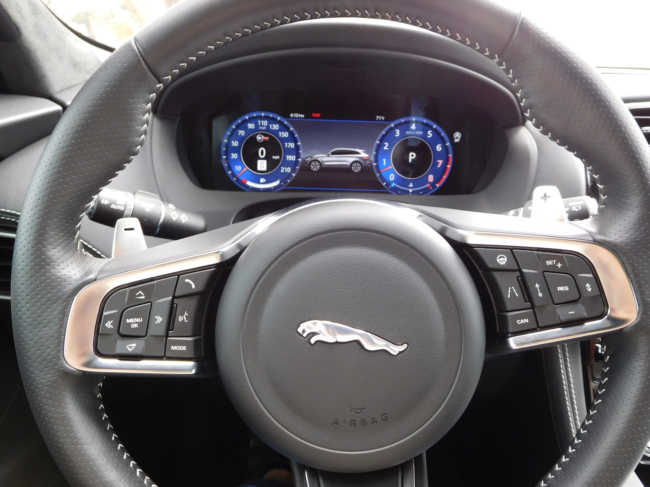 The steering wheel in the F-Pace