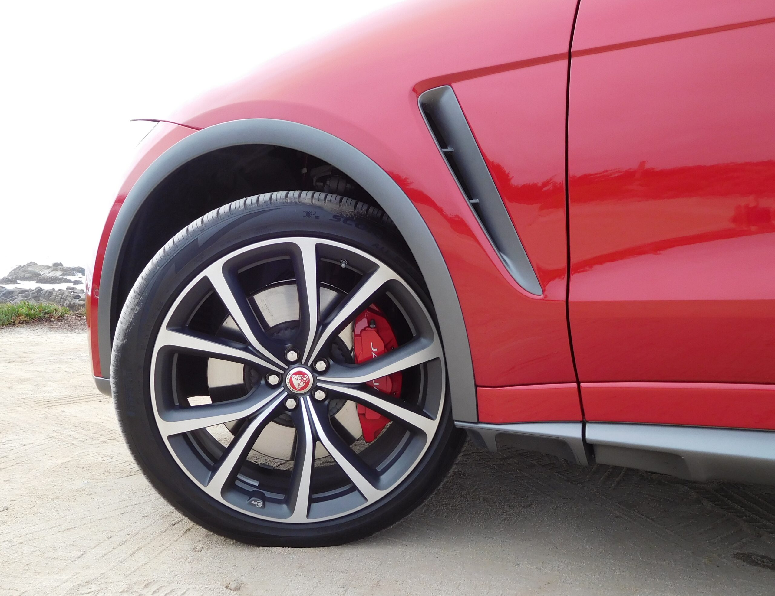 The high-performance tires on the F-Pace SVR