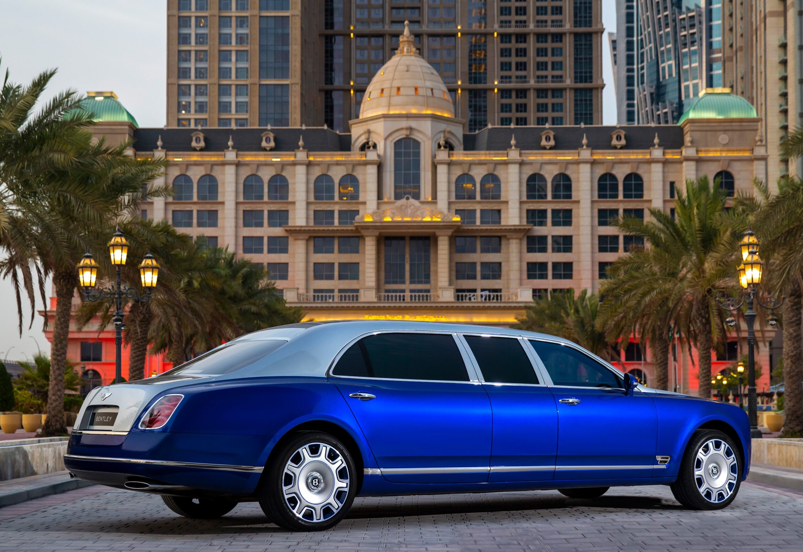 A rear view of the Bentley Grand Mulsanne