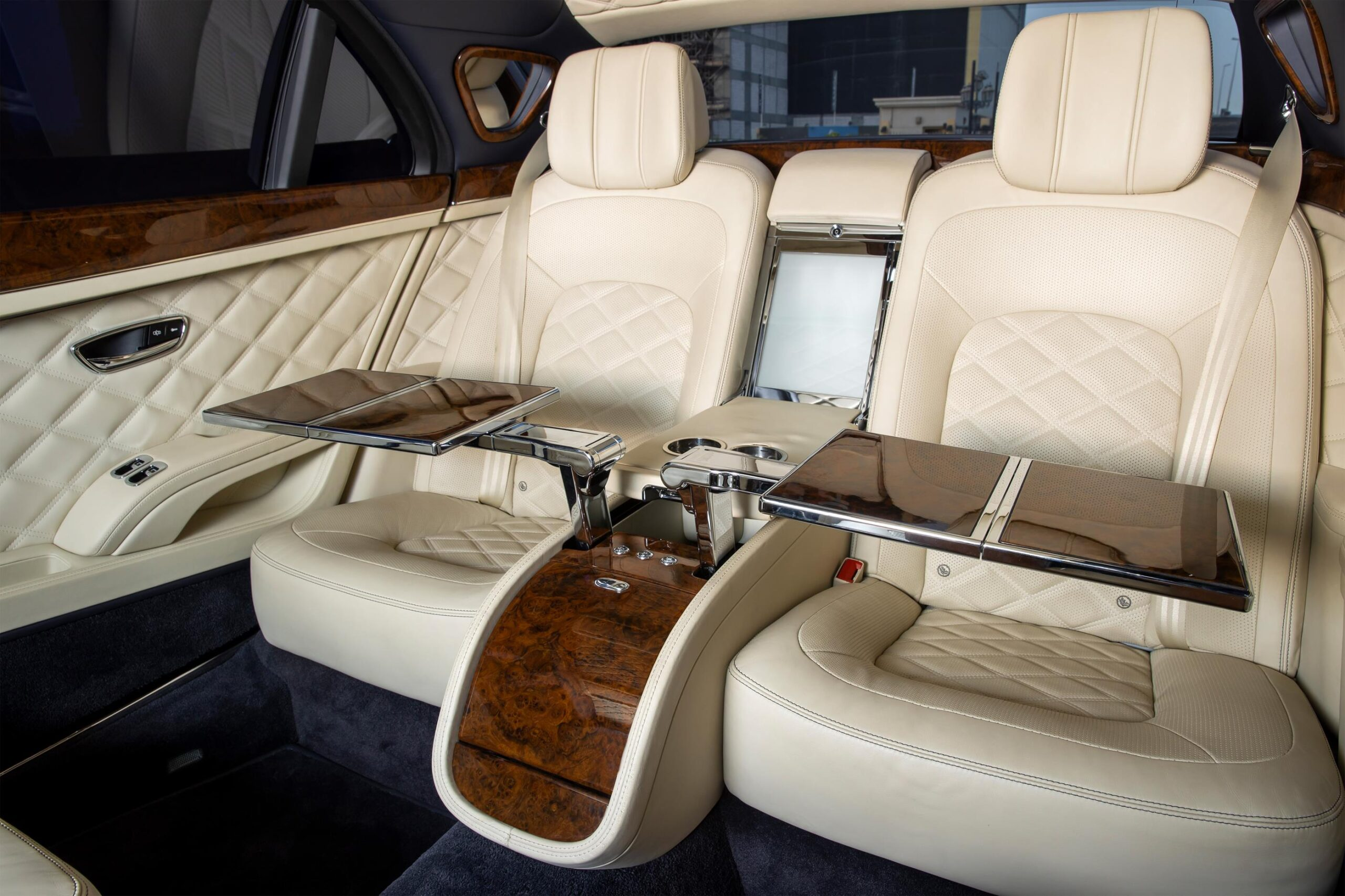 Back seat picnic tables in the Grand Mulsanne limo.