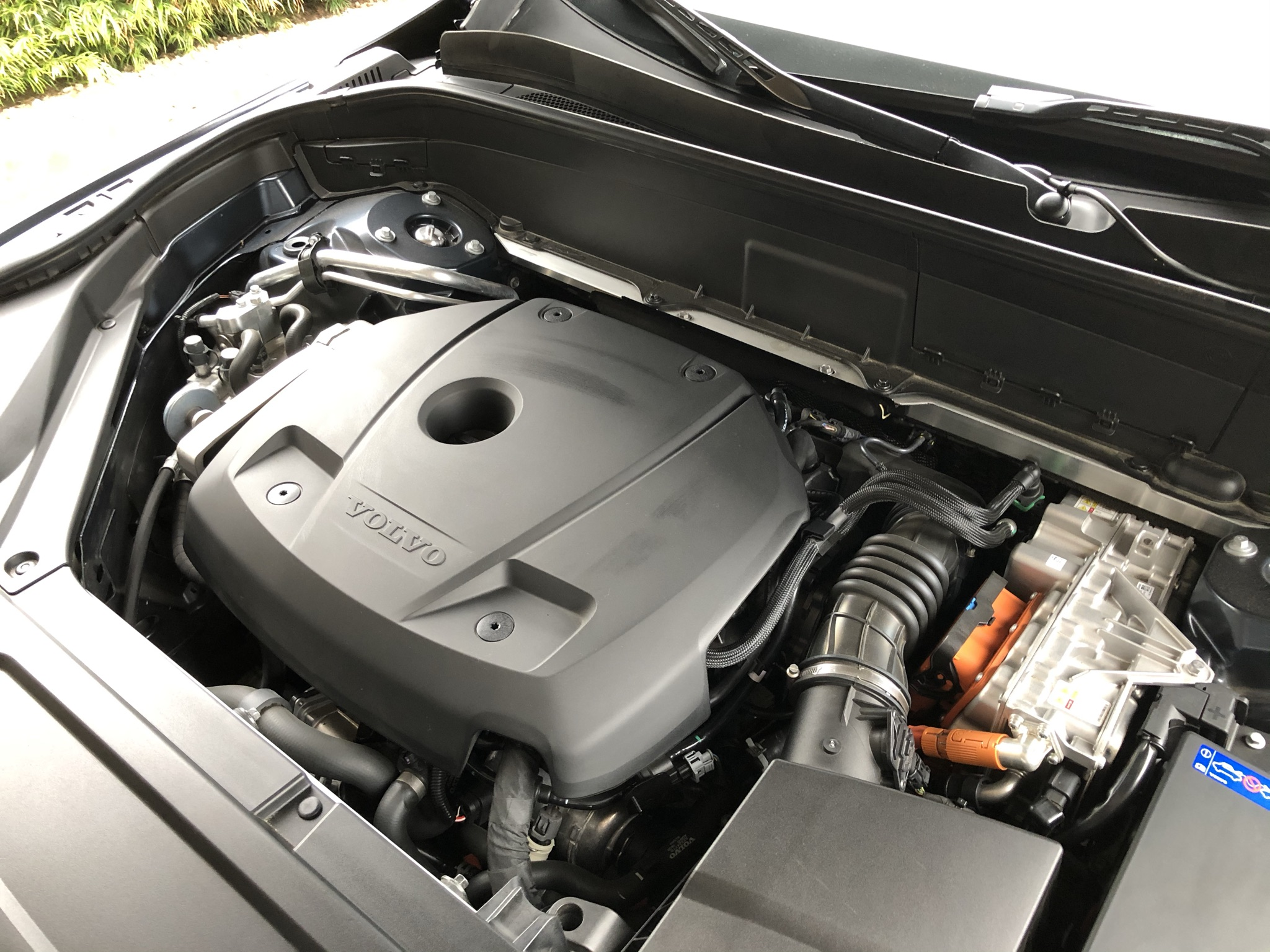 A hood-up view of Volvo's T8 hybrid powertrain