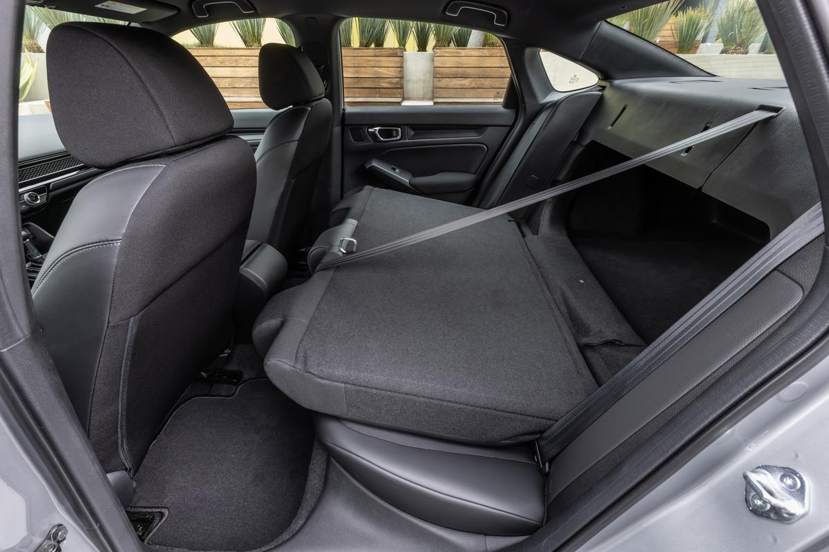 Folded back seat