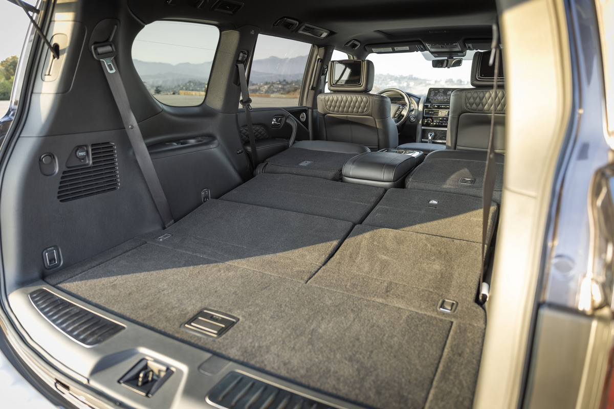 The wide open cargo area of the QX80